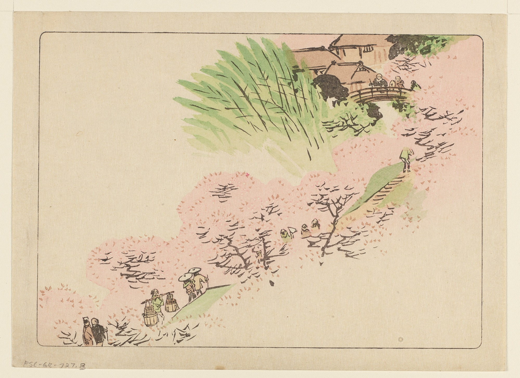 Spring landscape with mountain village, from set 4 of a Hana Kurabe series of 10 sets