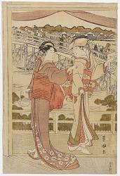 Women near a bridge in Edo