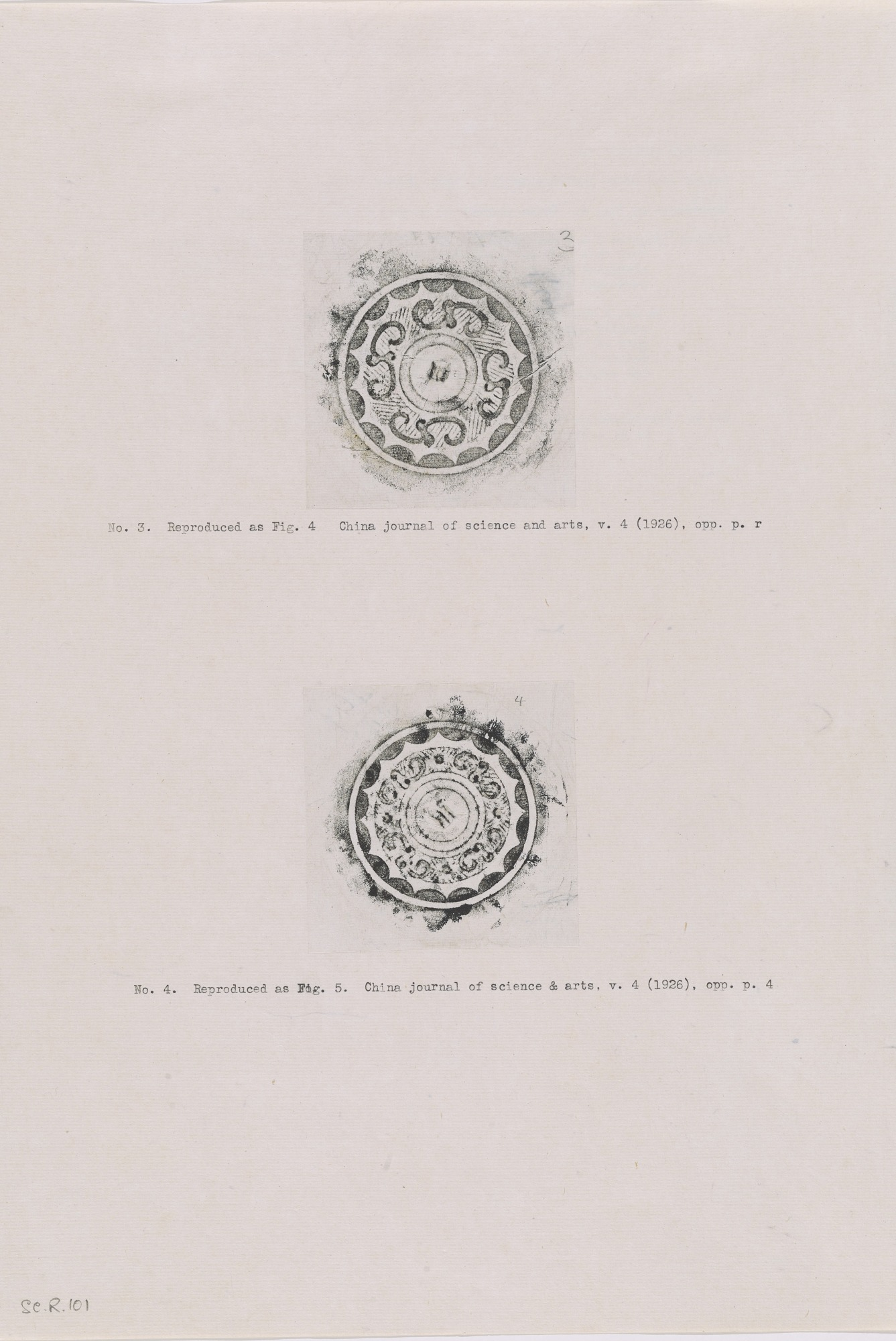 2 rubbings of bronze mirrors