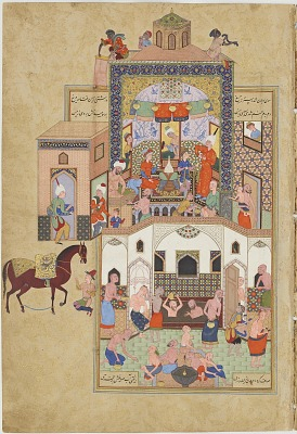 Folio from the <em>Silsilat al-dhahab</em> (Chain of gold) in the <em>Haft awrang</em> (Seven thrones) by Jami (d. 1492); recto: The dervish picks up his beloved's hair from the hammam floor; verso: text