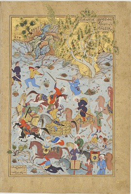 Folio from the <em>Haft awrang</em> (Seven thrones) by Jami (d. 1492); verso: Bandits attack the caravan of Aynie and Ria; recto: text