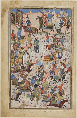 Folio from a <em>Shahnama</em> [?] (Book of Kings) by Firdawsi (d.1020); Battle scene
