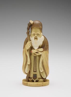 Carving of god Jurojin, god of wisdom and long life