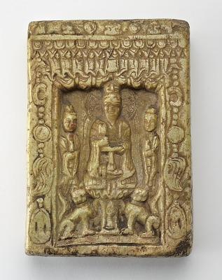 Small Daoist stele depicting Laojun in a niche