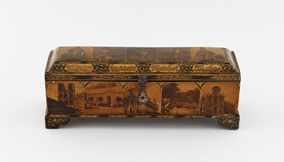Writing box with utensils, decorated with photographs of Nasir a-Din Shah, his court, and views of Paris and Tehran