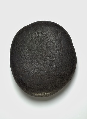 Carved pebble: image of Kakinomoto no Hitomaro