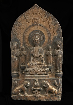 Buddhist tablet: seated central figure flankedd by monk and Bodhisattva on either hand; rectangular base, and figure of Buddha in sunken relief on reverse