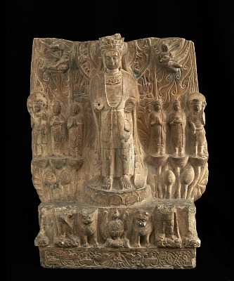 Standing bodhisattva with attendants