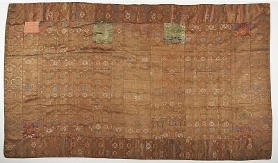 Silk brocade. A Buddhist monk's robe, patched: Kesa