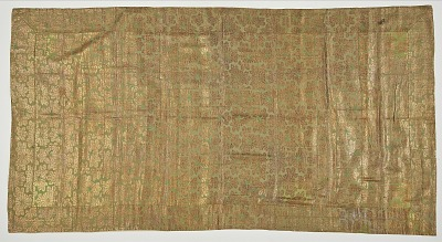 Brocade, silk. A Buddhist monk's robe, patched. Kesa