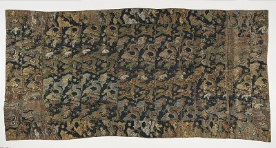 Brocade, silk. A Buddhist monk's robe, patched; kesa 袈裟
