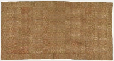 Brocade, silk. A Buddhist monk's robe; patched; kesa