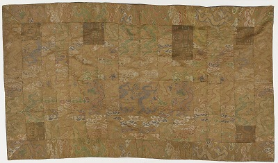 Brocade, silk. A Buddhist monk's robe, patched; kesa 袈裟