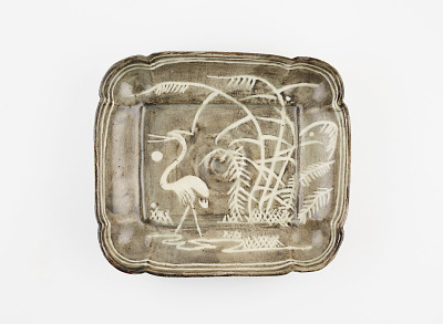 Rectangular serving dish in Gray Shino style