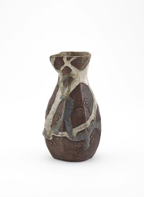 Sake bottle with design of primroses, possibly Tokoname ware