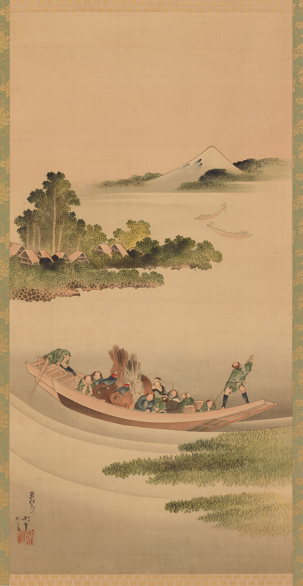 River landscape: ferry-boat and Mount Fuji