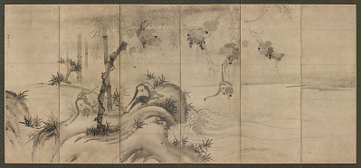 Monkeys and trees on a river bank