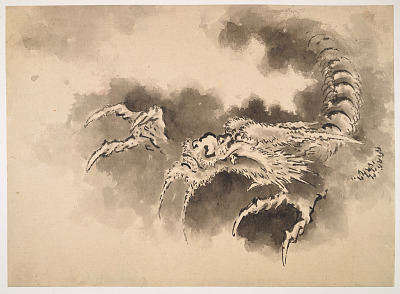 Dragon emerging from clouds