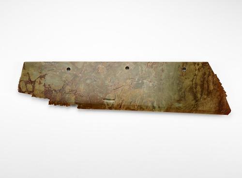 Harvesting knife (<em>hu</em> 笏) with mask and felines, fragment