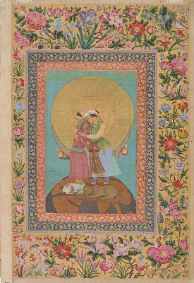 Allegorical representation of Emperor Jahangir and Shah Abbas of Persia from the <em>St. Petersburg Album</em>