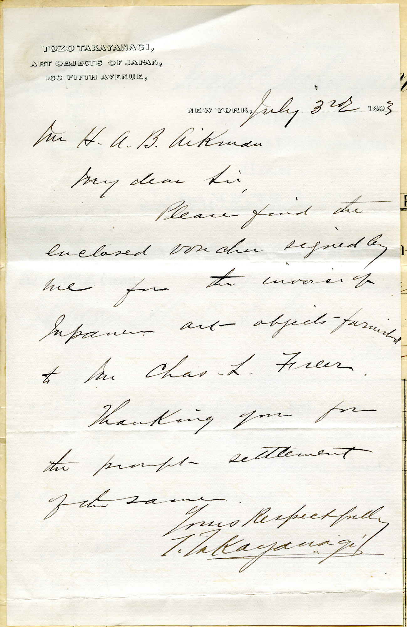 Record of Charles Lang Freer