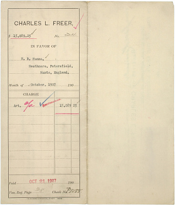 Record of Charles Lang Freer's purchase of Indian miniatures from Colonel Henry Bathurst Hanna, London. October 1907