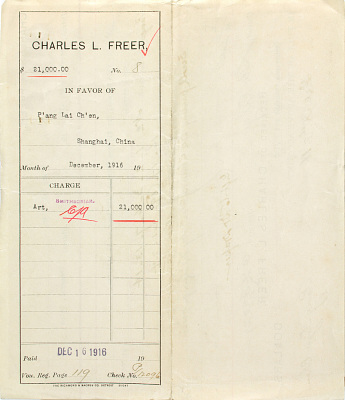 Record of Charles Lang Freer's purchase of 15 Chinese paintings from the Pang Laichen Collection. December, 1916