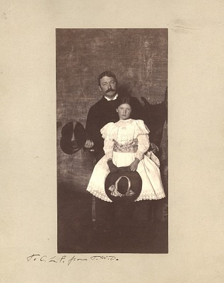 Portrait of Thomas Wilmer Dewing with daugher, ca. 1895
