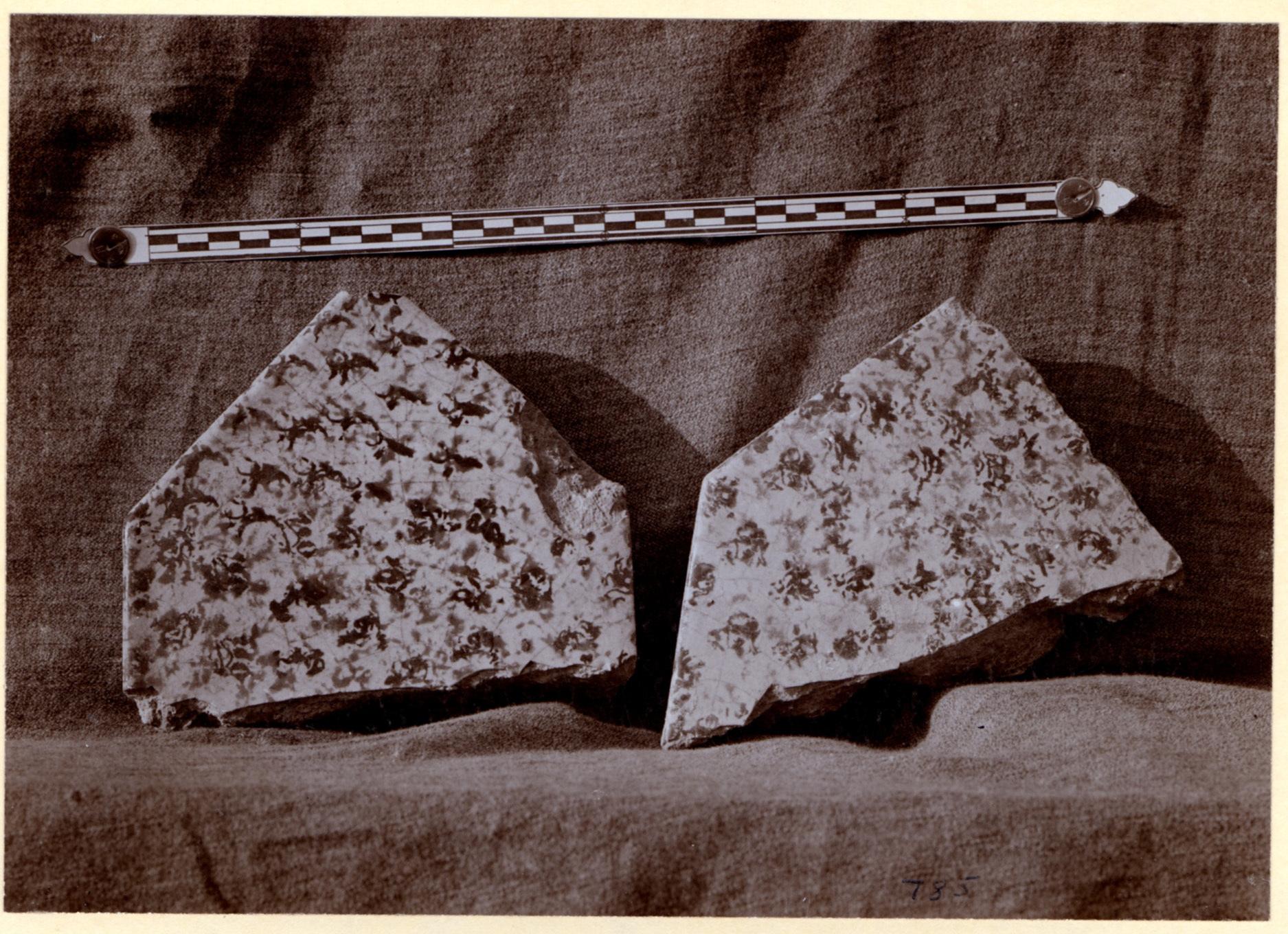 Excavation of Samarra (Iraq): Fragments of Ceramic Tiles, Found in Palace of the Caliph (Dar al-Khilafa, Jawsaq al-Khaqani, Bayt al-Khalifah)