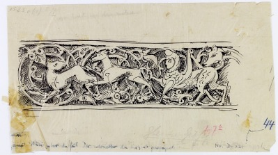 Hama (Syria): Nur al-din Mosque, Mihrab: Arabesque Scroll Depicting Animals and Vegetal Ornaments [drawing]