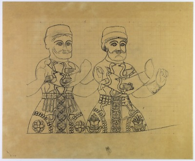Taq-i Bustan (Iran): Sasanian Rock Reliefs, Large Vault, Relief Panel Picturing the Boar Hunt: King Standing in Boat, Textile Pattern on Costume [drawing]