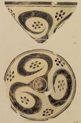 Excavation of Persepolis (Iran): Reconstruction of Pottery with Painted Patterns: Two Conical Bowls, from Prehistoric Mound of Tal-i Bakun (PPA) [drawing]