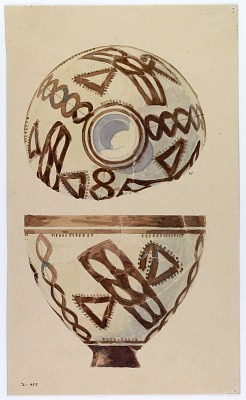 Excavation of Persepolis (Iran): Reconstruction of Pottery with Painted Patterns: Side and Interior of Bowl, from Prehistoric Mound of Tal-i Bakun (PPA) [drawing]