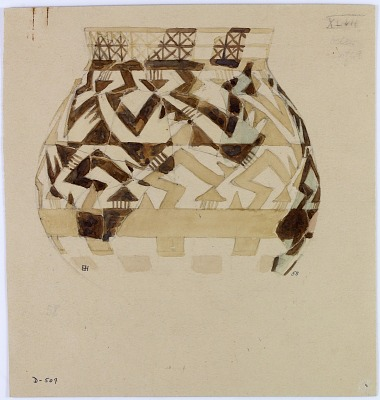 Excavation of Persepolis (Iran): Reconstruction of Pottery with Painted Patterns: Jar with Geometrical Ornaments, from Prehistoric Mound of Tal-i Bakun (PPA) [drawing]