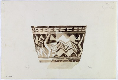 Excavation of Persepolis (Iran): Reconstruction of Pottery with Painted Patterns: Bowl with Geometrical Ornaments, from Prehistoric Mound of Tal-i Bakun (PPA) [drawing]