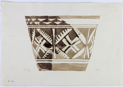 Excavation of Persepolis (Iran): Reconstruction of Pottery with Painted Patterns: Vase with Geometrical Ornaments, from Prehistoric Mound of Tal-i Bakun (PPA) [drawing]