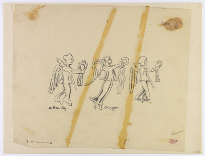Persia: Human Figures from Coins: Three Nikes Holding Palm Branch and Corona [drawing]