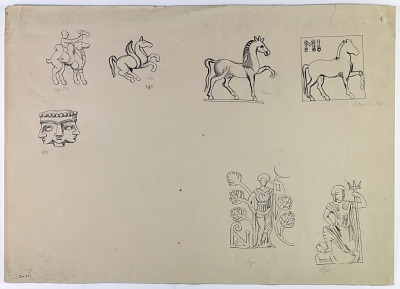 East of Iran: Figures from Coins: Bactrian Soter on Horseback, Saka King Azes on a Camel, and Kushan Vimakadphises on an Elephant [drawing]