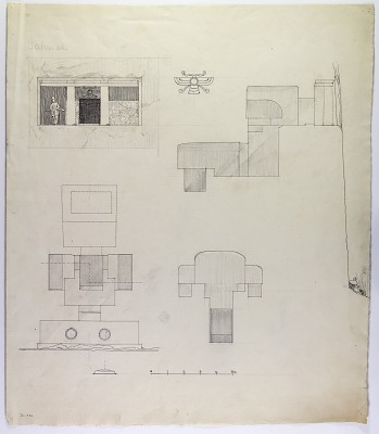 Sahna (Iran): Rock-Cut Tomb: Ground Plan, Section and Elevation [drawing]