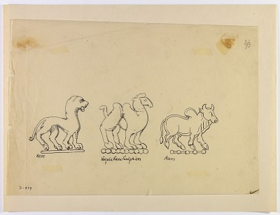 Animal Figures from Graeco-Bactrian Coins [drawing]