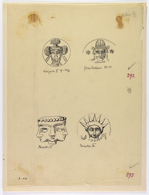 Coins Depicting Two Royal Heads, of a Son of Vardanes and of Volagases IV, and Two Other Heads, of the God Mithra and of a Triple Head [drawing]
