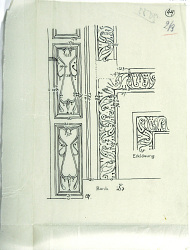 Excavation of Samarra (Iraq): Four Drawings Depicting Wall and Column Ornamentation [drawing]