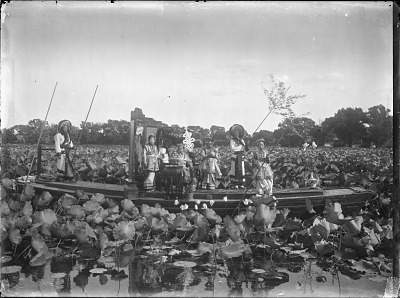 The Empress Dowager Cixi and attendants on the imperial barge on Zhonghai, Beijing 1903-1905