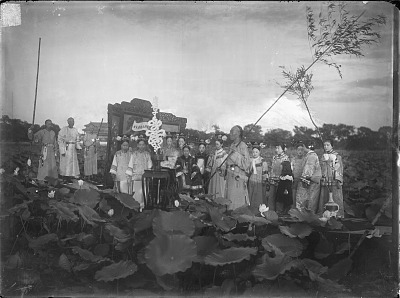 The Empress Dowager Cixi and attendants on the imperial barge on Zhonghai, Beijing. 1903-1905