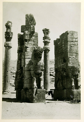Persepolis (Iran), Gate of All Lands: Colossal Sculptures Depicting Heads of a Bull and Two Columns of Stone [graphic]