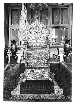 Tehran (Iran): Gulistan Palace: Front View of the Coronation Throne [graphic]
