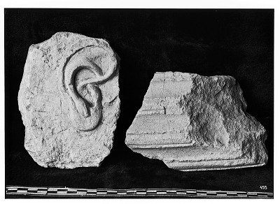Excavation of Pasargadae (Iran): Palace 'S': Stone Fragments from Column Base and Possibly Depicting Human Ear [graphic]