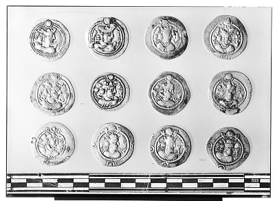 Obverse of Twelve Sasanian Coins, Including Several of King Kavadh I, King Zamasp, and King Valkash [graphic]