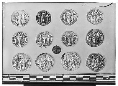 Reverse of Thirteen Sasanian Coins, Including Several of King Yazdagird II and King Bahram V [graphic]