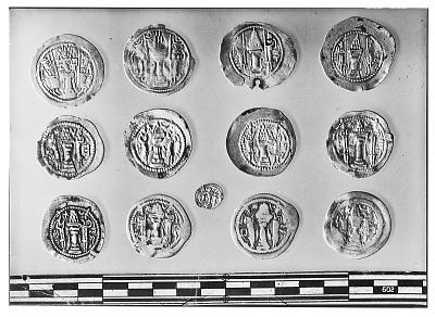 Reverse of Thirteen Sasanian Coins, Including Several of King Yazdagird II, King Peroz, and King Bahram V [graphic]